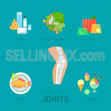 Flat healthy joints lifestyle vector infographics concept. Human organ icon with dairy green salad vegetable gelatin fish ice-cream elements around. Health and fitness collection.