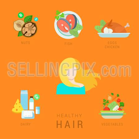 Flat healthy hair lifestyle vector infographics concept. Human face icon with nuts fish eggs chicken dairy vegetable elements around. Health and fitness collection.