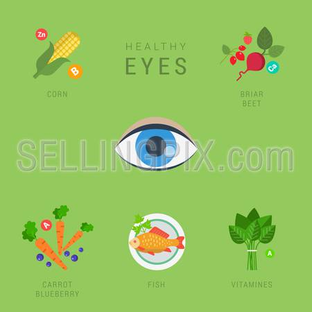Flat healthy eyes lifestyle vector infographics concept. Human eye icon with corn briar beet carrot blueberry fish vitamin elements around. Health and fitness collection.