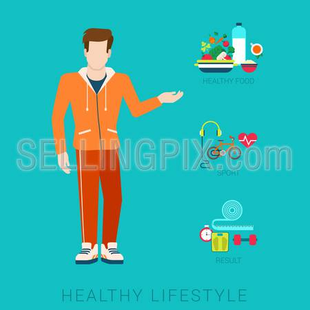 Flat slim healthy lifestyle vector infographics concept. Thin male man human figure front view with icons of life style elements. Health and fitness collection.