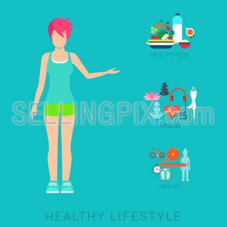 Flat slim healthy lifestyle vector infographics concept. Thin female woman human figure front view with icons of life style elements. Health and fitness collection.