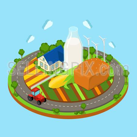 Flat 3d isometric countryside farm infographics. Farmhouse tractor on circle road field and huge corn bread loaf wind turbine icon concept. Web isometry infographic collection.