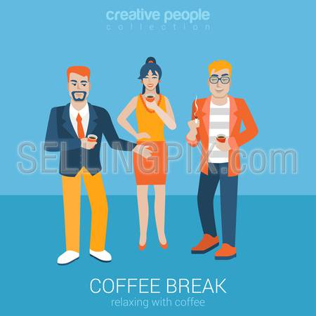 Flat people relax leisure lifestyle situation coffee smoking cigarette time concept. Two young male and female coffee break. Vector illustration collection of young creative humans.
