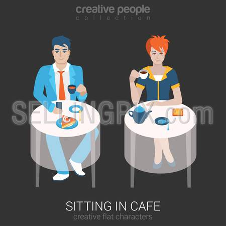 Flat people relax leisure lifestyle situation in cafe restaurant concept. Set of young beautiful man woman sitting table drinking tea coffee alone. Young creative human vector illustration collection.
