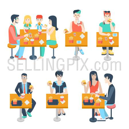 Set of stylish family young boy girl businessman couple figures sitting fastfood table. Flat people lifestyle situation fast food cafe restaurant meal time concept. Creative human collection.