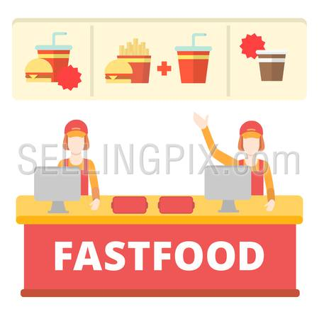 Fastfood flat style order desk cashier line concept. Two free cashdesk table female workers menu burger cola fries coffee. Creative people collection.