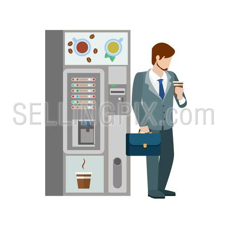 Young businessman manager drink hot beverage cup before coffee automatic machine. Flat people lifestyle situation coffee break. Young creative human vector illustration collection.