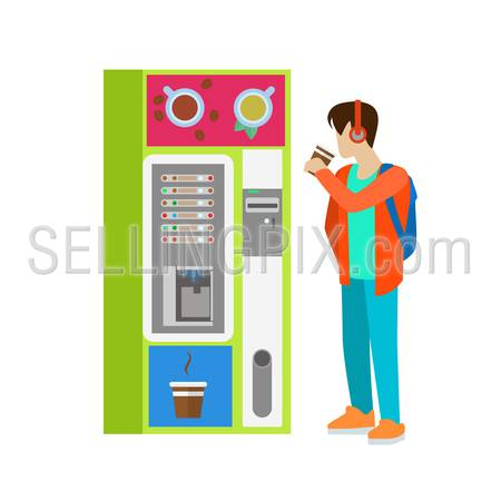 Young man male boy student drink hot beverage cup before coffee automatic machine. Flat people lifestyle situation coffee break. Young creative human vector illustration collection.