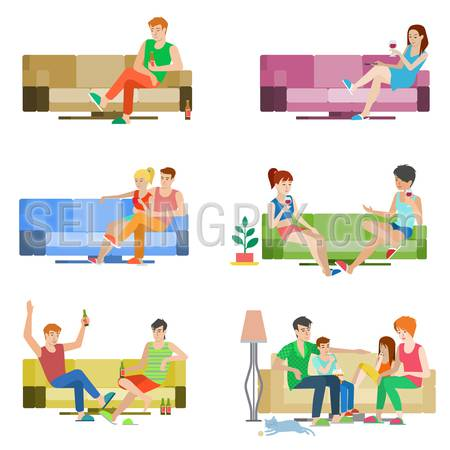 Flat style vector people set of young beautiful people sitting on sofa. Boy girl couple friends family relax lounge divan wine beer. Creative human collection.