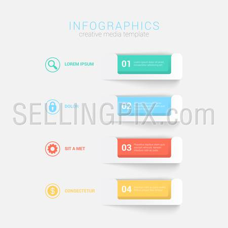 Simple stylish 4 step label multicolor infographics mockup template. Infographic background concepts collection.
