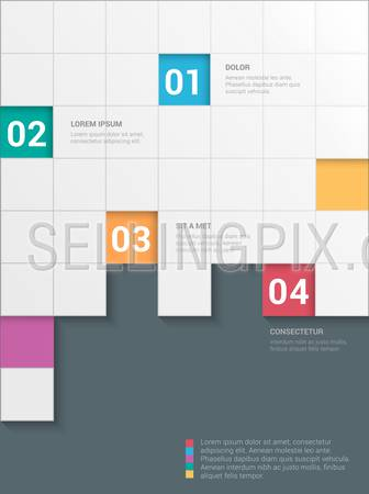 Simple stylish 4 step checkered checkerboard style multicolor infographics mockup template. Infographic background concepts collection.