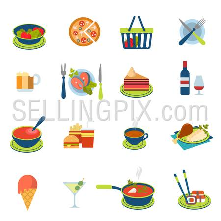 Flat style restaurant fast street food cafe drink icon set. Menu eat beverage dinner lunch salad pizza fish salmon soup sushi chicken ice-cream tea wine dessert web infographic icons collection.