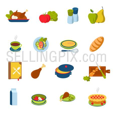 Flat style restaurant fast street food cafe cooking icon set. Menu eat dinner lunch chicken egg turkey tomato apple pear fish steak carrot salt pie dessert web infographic icons collection.