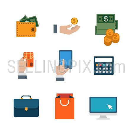 Flat web site interface finance online shopping banking payment transaction infographics icon set. Wallet money dollar banknote coin calculator tablet credit card internet concept icons collection.