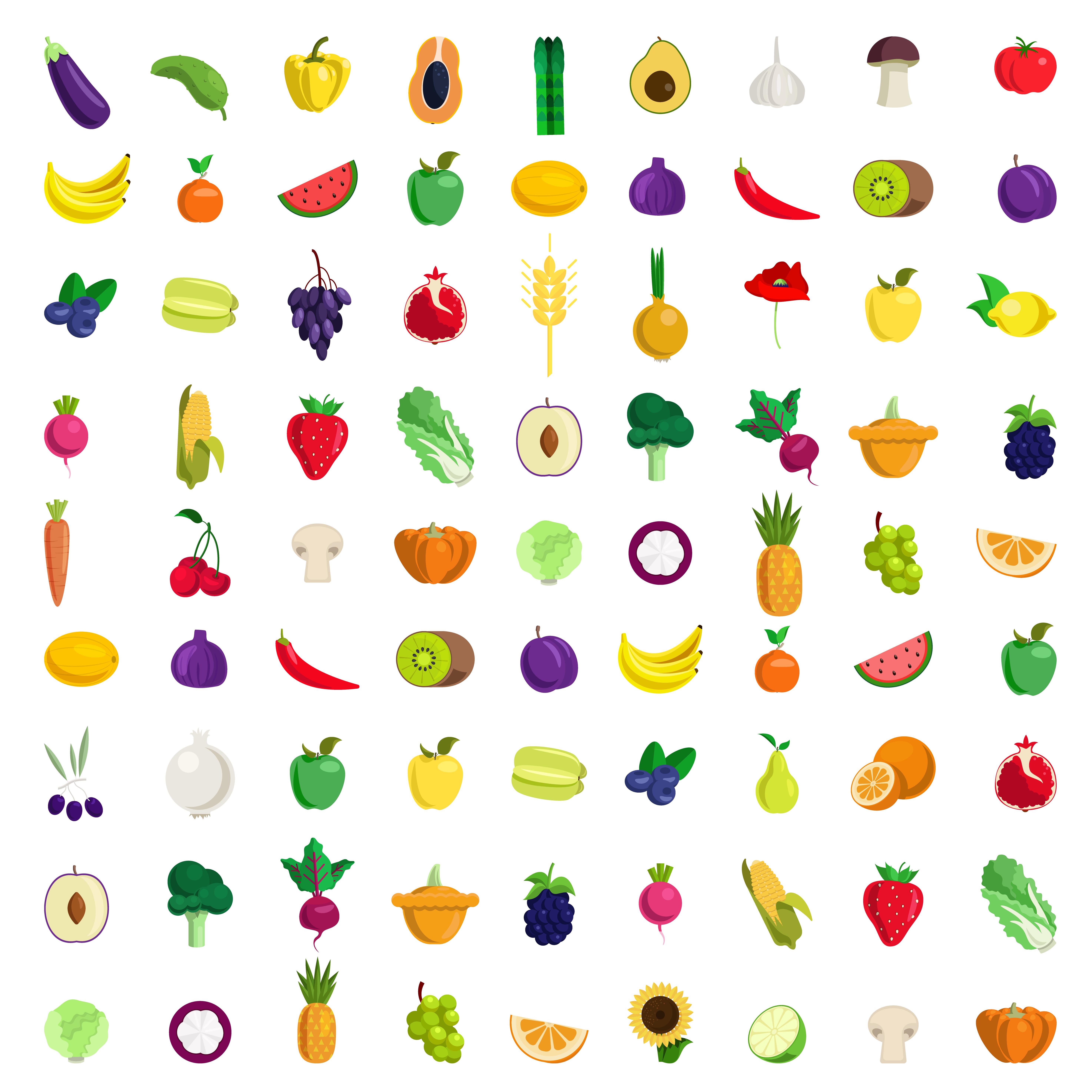 81 extra large stylish quality detail icon set farm fruit vegetable berry mushroom plants. Lemon banana strawberry pineapple kiwi cucumber tomato onion pepper plum orange wheat apple. Food collection.