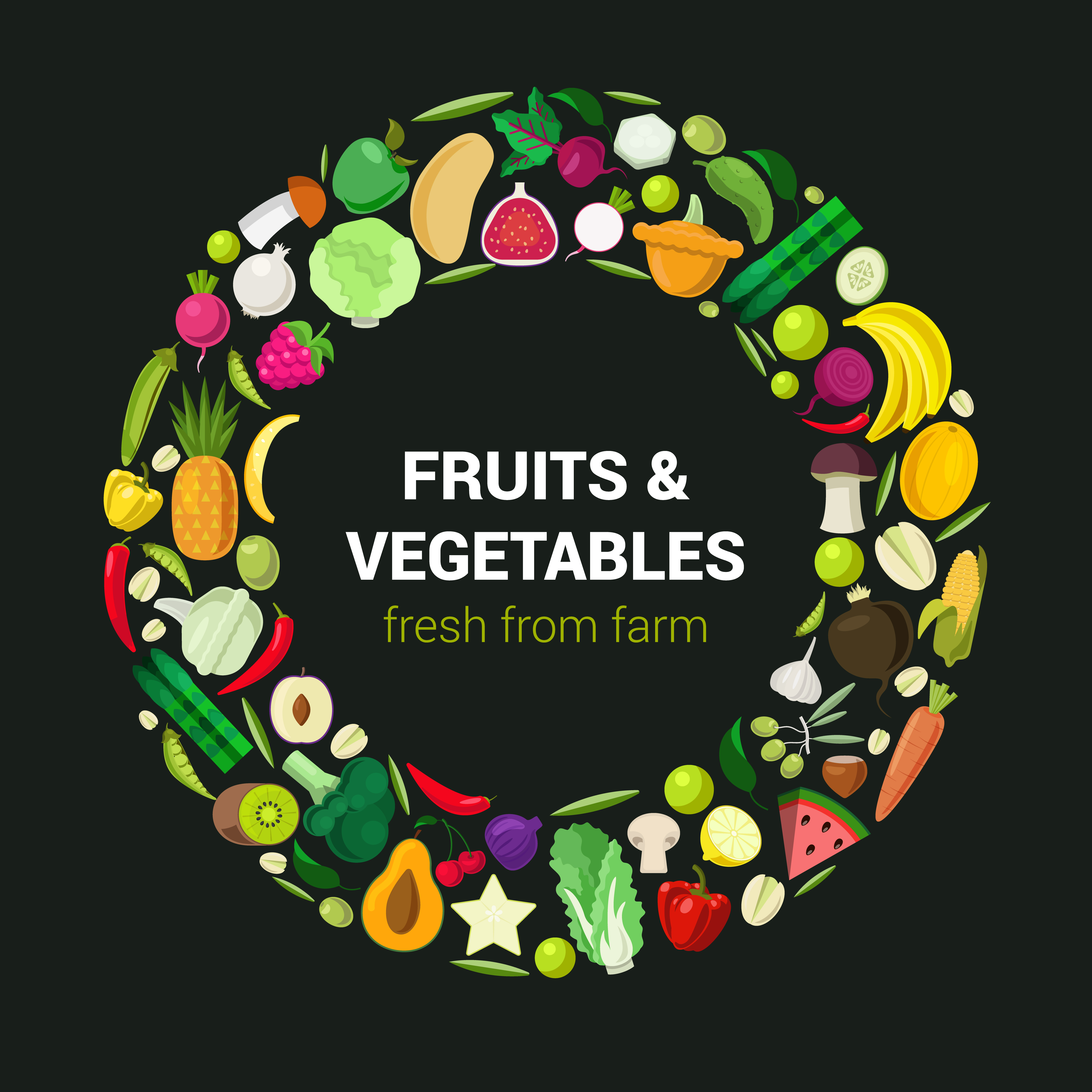 Ring of tasty eco food icons. Stylish fresh icon set fruit vegetable berry mushroom plants concept. Farm food collection.