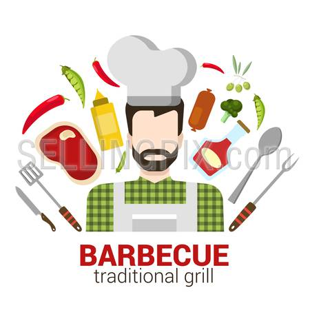 Flat style modern professional cook cafe restaurant barbecue grill job related icon man workplace objects. Company logo identity template mockup. Male figure cap tools. People at work collection.