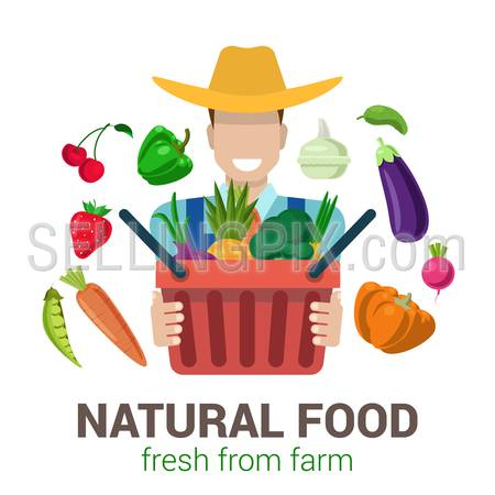 Flat style modern professional farm owner farmer shop job related icon man workplace objects. Company logo identity template. Male figure cowboy hat bag fruit vegetable. People at work collection.