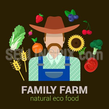 Farmer and harvest natural eco food. Stylish quality detail icon set farm fruit vegetable berry plants. Agriculture logo company identity mockup template concept. Food farming collection.