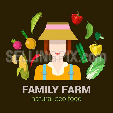 Female family farmer harvest natural eco food. Stylish quality detail icon set farm vegetable plants. Agriculture logo company identity mockup template concept. Food farming collection.
