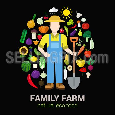 Farmer with shovel and harvest products icons. Stylish quality detail icon set farm fruit vegetable berry mushroom plants. Agriculture concept. Food farming collection.