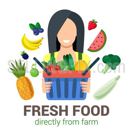 Female young girl shop seller salesman farmer harvest natural eco fresh food. Stylish quality detail icon set farm fruit. Agriculture logo company identity mockup template concept. Farming collection.