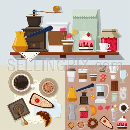 Flat style confectionery dessert candy shop icons objects kit template mockup. Icon set sweet products tools to build cafe table. Kits collection.