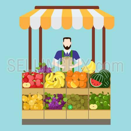 Food market fruit shop salesman sale process. Flat style modern professional job related icon man workplace objects. Showcase box bag apple banana orange kiwi grapes pear. People work collection