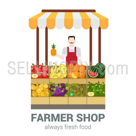 Food market fruit shop owner salesman. Flat style modern professional job related icon man workplace objects. Showcase box pineapple apple banana orange kiwi grapes pear. People work collection