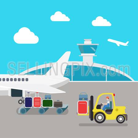 Flat style airport plane luggage loading process. Transport delivery collection.