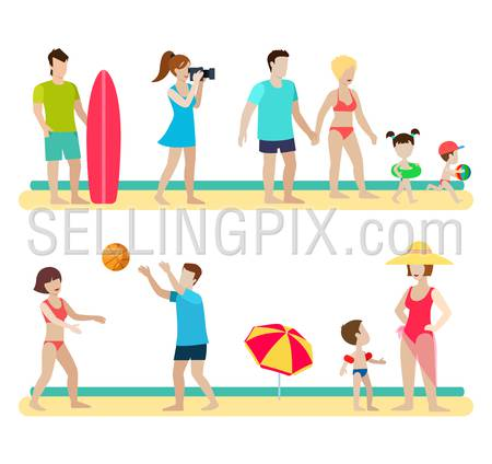 Flat style modern beach people family lifestyle icons situations web template infographic vector icon set. Photographer surfer couple children parenting volleyball umbrella. Men women lifestyle icons.