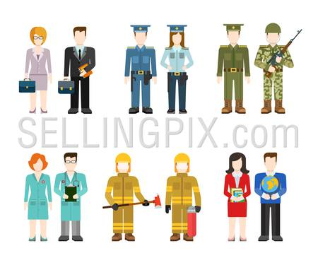 Military army officer commander businessman policeman doctor fireman teacher people in uniform flat avatar user profile icon vector illustration set. Creative people collection.