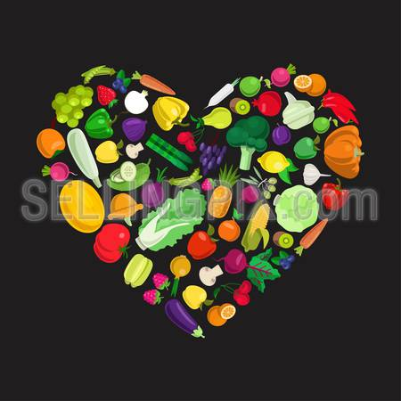 I love healthy food concept. Flat style heart shape form of tasty eco farm food icons. Stylish fresh icon set fruit vegetable berry mushroom plants conceptual. Farming food collection.