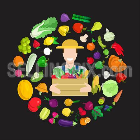 Flat style young happy smiling farmer with full harvest box. Stylish quality detail icon set farm fruit vegetable berry mushroom plants. Agriculture concept. Food farming collection.