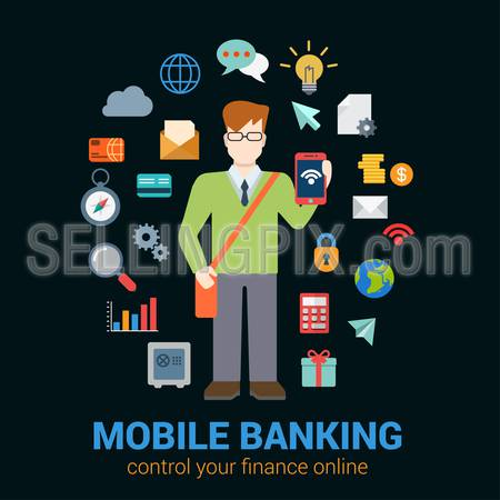 Flat style online mobile banking finance control access concept. Young man with tablet financial banking icon set around. Creative people business conceptual collection.