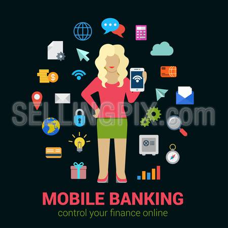 Flat style online mobile banking finance control access concept. Young blond woman with tablet financial banking icon set around. Creative people business conceptual collection.