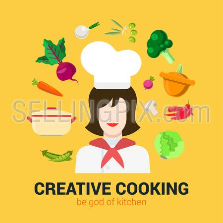 Flat style modern fresh creative cooking concept. Happy smiling female kitchen professional chief and vegetable soup food ingredient icon set. Cafe restaurant conceptual collection.