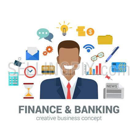Flat style banking and finance concept. Happy smiling young black man financial bank credit card newspaper coin money savings office icon set around. Creative people business conceptual collection.