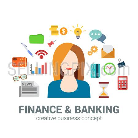 Flat style banking and finance concept. Happy smiling young beautiful woman financial bank credit card newspaper coin money savings office icon set. Creative people business conceptual collection.