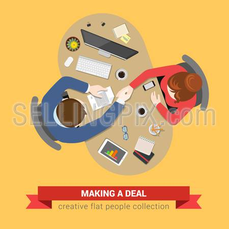 Handshake deal contract topview workplace. Office table top view business flat web infographic concept vector. Creative people collection.