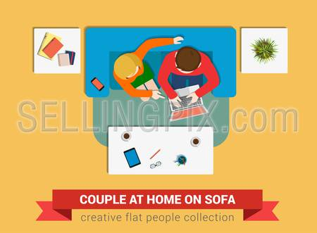 Couple on sofa surfing online flat web infographic concept vector. Staff around table working. Creative people collection.