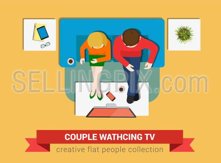 Couple on sofa watch TV flat web infographic concept vector. Staff around table working. Creative people collection.