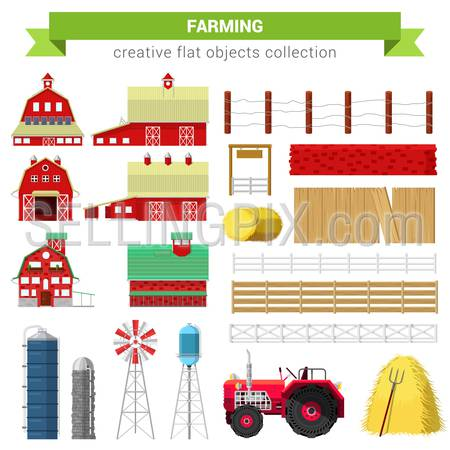 Flat style farming agriculture icon set. Farm rancho building barn mill container storage processing fence stack water tank tractor. Creative objects collection.