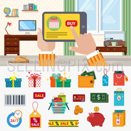 Flat style online shopping concept icon set. Hand touch tablet web site product interface buy button box gift money coin dollar wallet sale label cart barcode. Modern technology creative collection