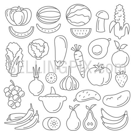 Line art flat graphical style fancy quality set of fruit and vegetable set hipster style. Apple lemon pomegranate pineapple avocado orange plum coffee bean mushroom lime melon corn peas beets celery sprouts. Line art collection.