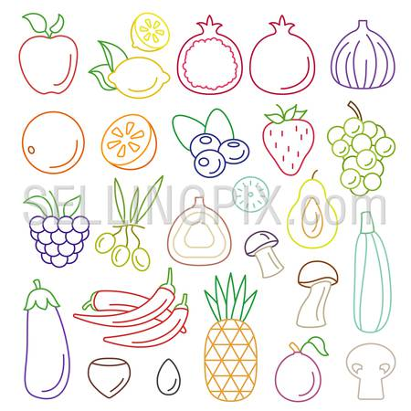 Line art flat graphical style fancy quality fruit vegetable icon set. Apple lemon pomegranate orange mushroom berry grapes chili pepper eggplant pineapple pear olive strawberry. Lineart collection.
