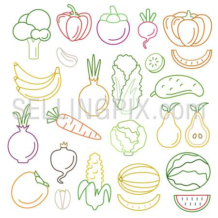 Line art flat graphical style high quality fruit vegetable icon set. Pumpkin pepper corn carrots melon peas. World of lineart collection.