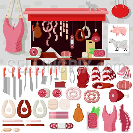 Flat style butcher shop workplace icons objects kit template mockup. Icon set meat products tools to build butchery. Kits collection.