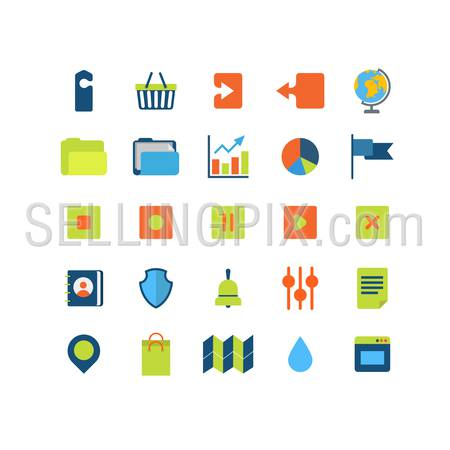 Flat style modern mobile web app interface icon pack set. Label cart upload download globe folder chart graphic flag shield address book settings options document pin map bell window bag application.