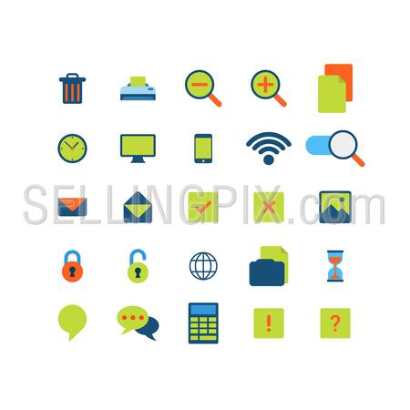 Flat style modern mobile web app interface icon pack set. Trash can printer zoom copy clock schedule mobile wifi sign email message picture lock unlock loading hourglass chat calculator application.